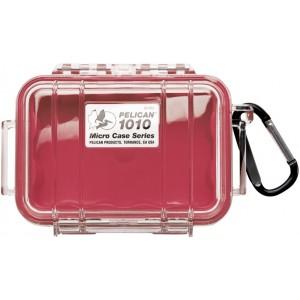 Кейс Pelican 1010 Micro Case прозрачный с красным вкладышем 1010-028-100E