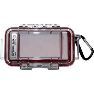 Кейс Pelican 1015 Micro Case прозрачный с красным вкладышем 1015-008-100