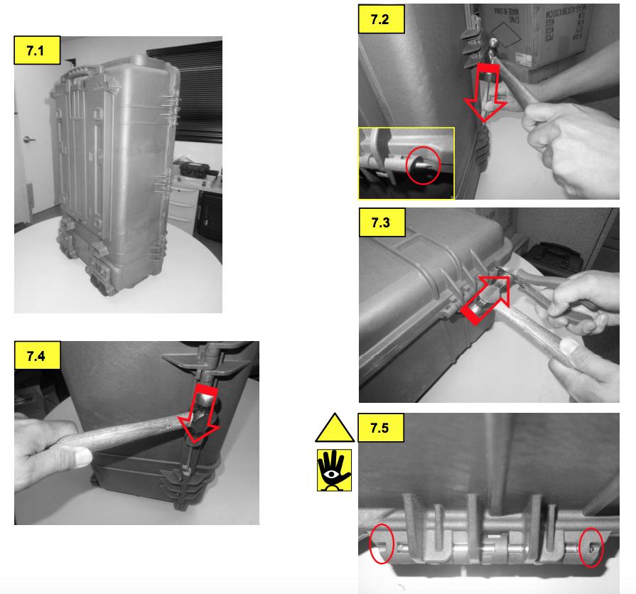 Инструкция как снять и установить шарнирный штифт Pelican 1650 Handle & 1610/1620 Wheel 1653-341-110